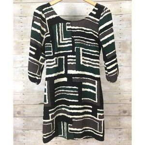 Boutique MidMod Abstract Sleeved Back Zip Dress S